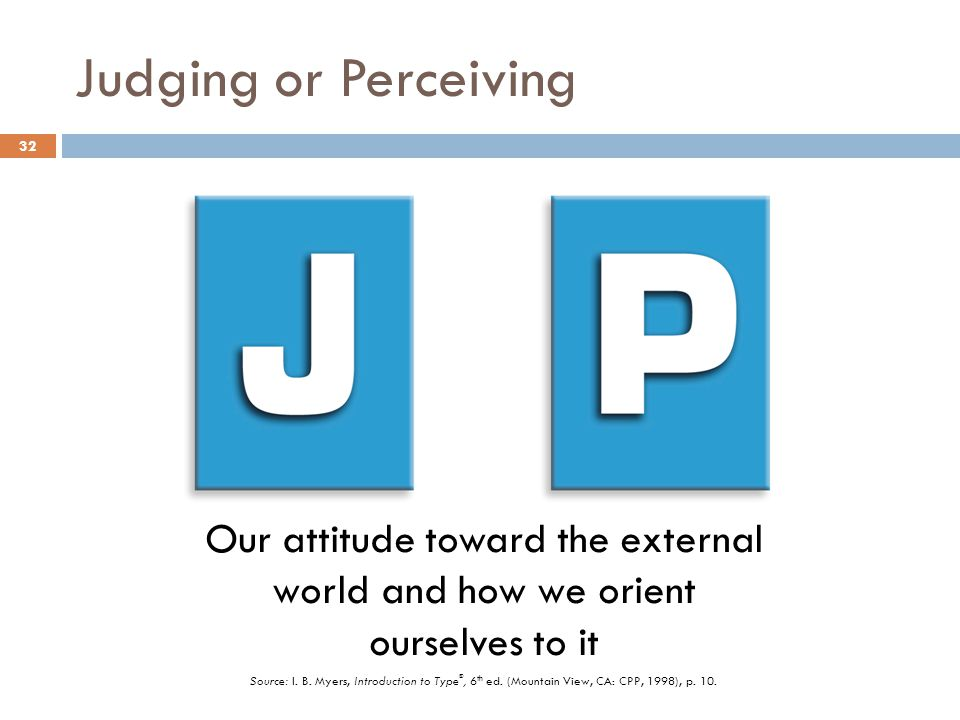 Judging or Perceiving Our attitude toward the external world and how we orient ourselves to it.
