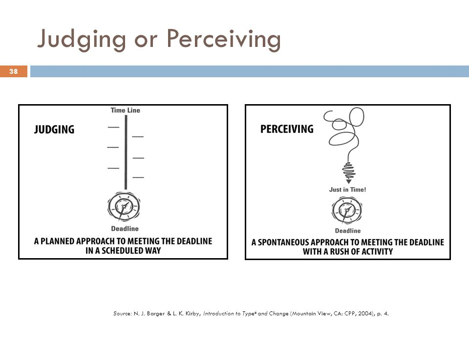 Judging or Perceiving Source: N. J. Barger & L. K.