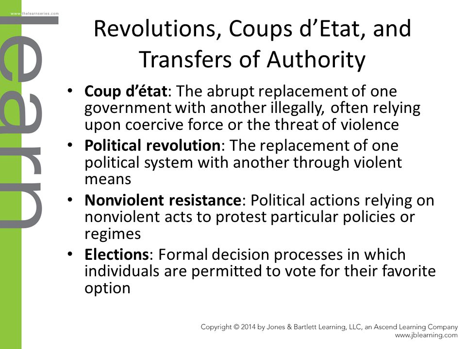 Revolutions, Coups d'Etat, and Transfers of Authority