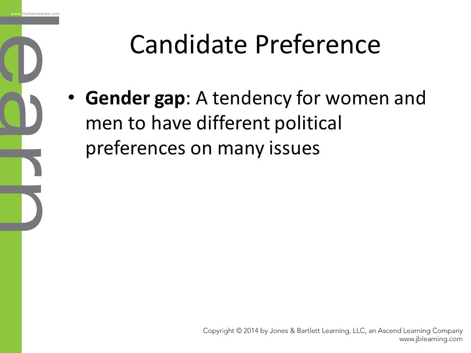 Candidate Preference Gender gap: A tendency for women and men to have different political preferences on many issues.