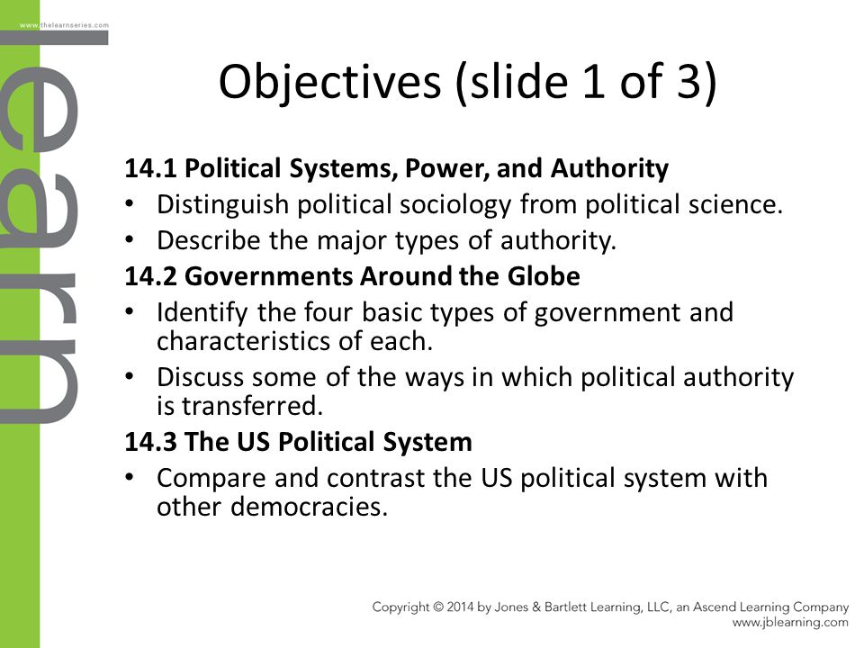 Objectives (slide 1 of 3) 14.1 Political Systems, Power, and Authority