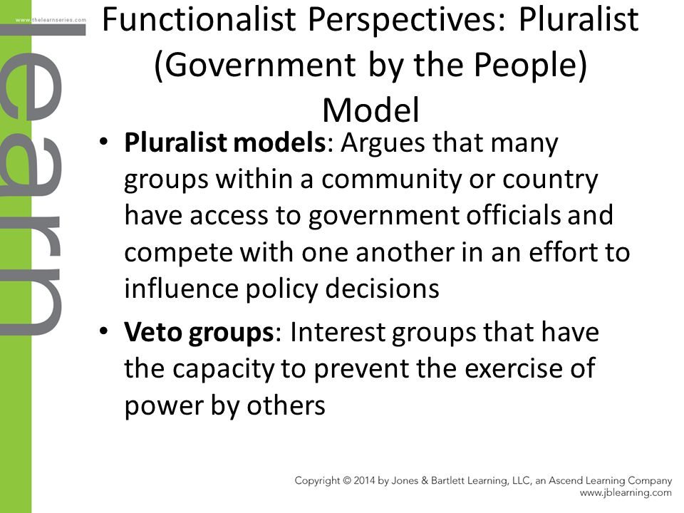 Functionalist Perspectives: Pluralist (Government by the People) Model
