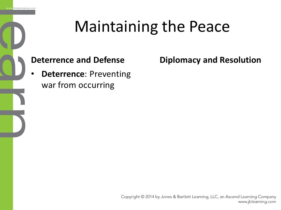 Maintaining the Peace Deterrence and Defense Diplomacy and Resolution