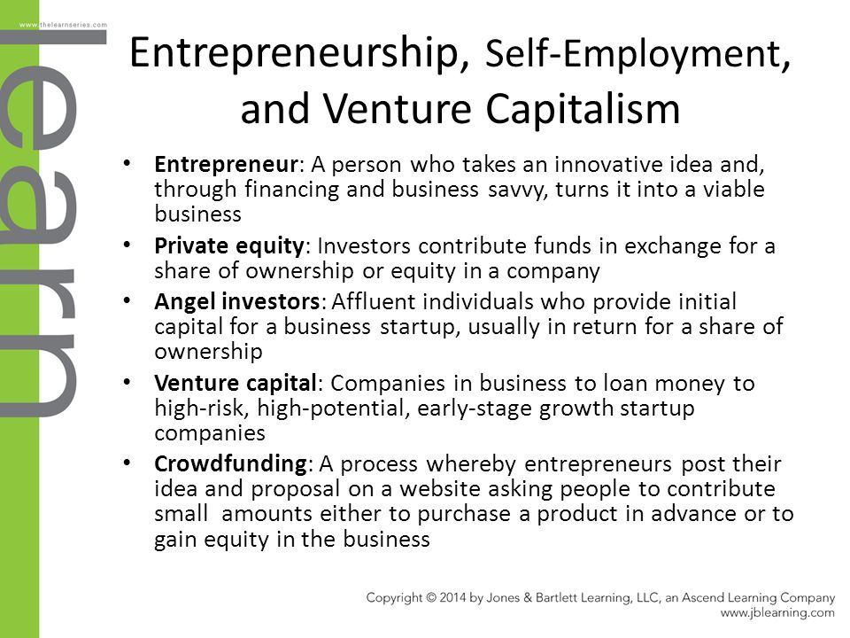 Entrepreneurship, Self-Employment, and Venture Capitalism