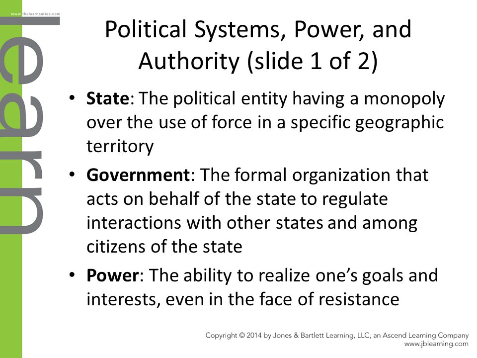 Political Systems, Power, and Authority (slide 1 of 2)