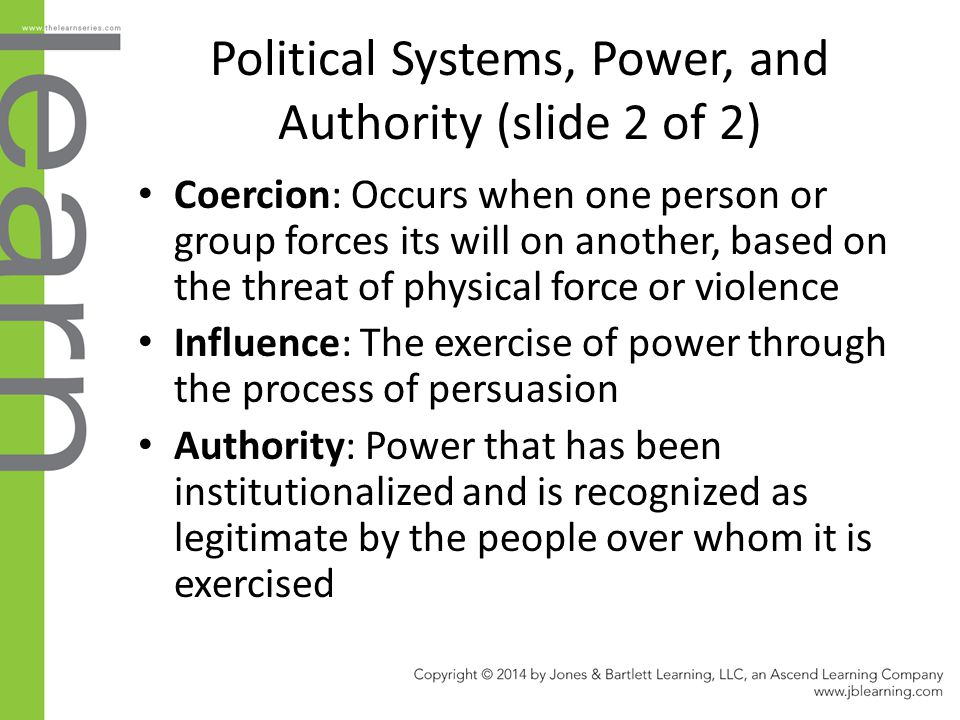 Political Systems, Power, and Authority (slide 2 of 2)