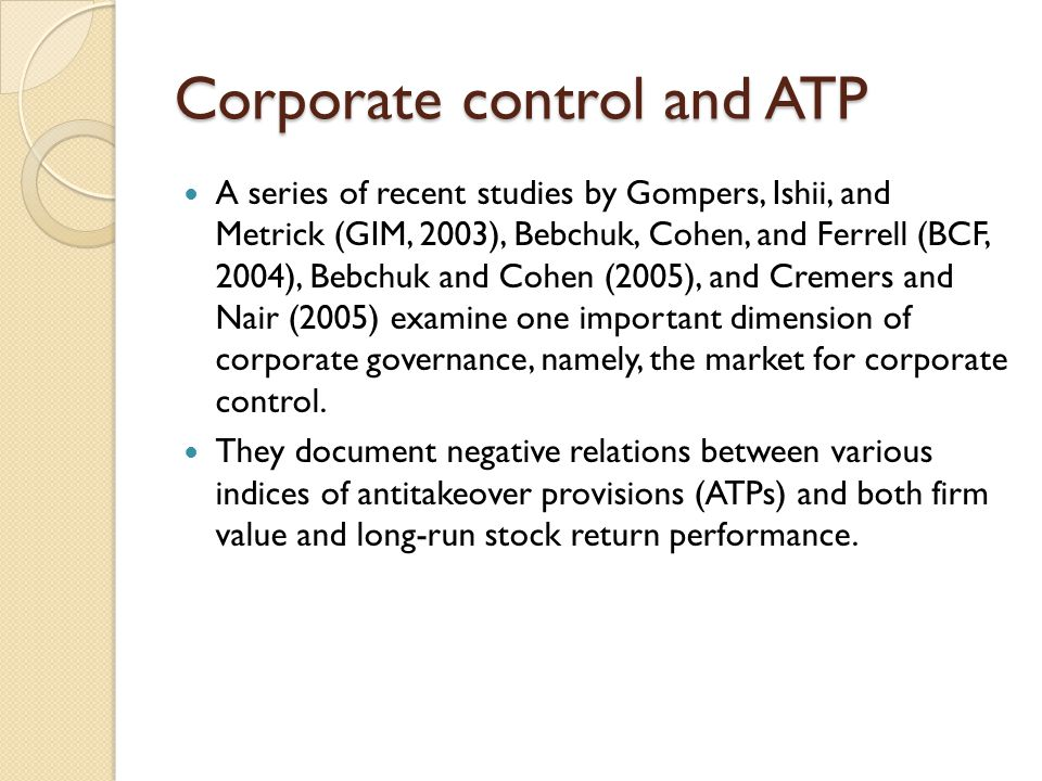 Corporate control and ATP