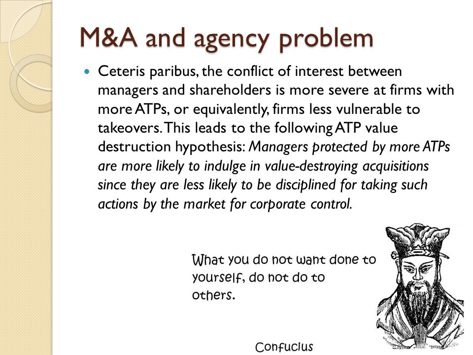 M&A and agency problem