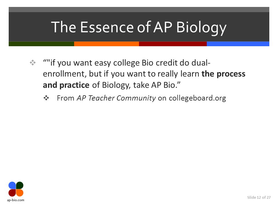 The Essence of AP Biology