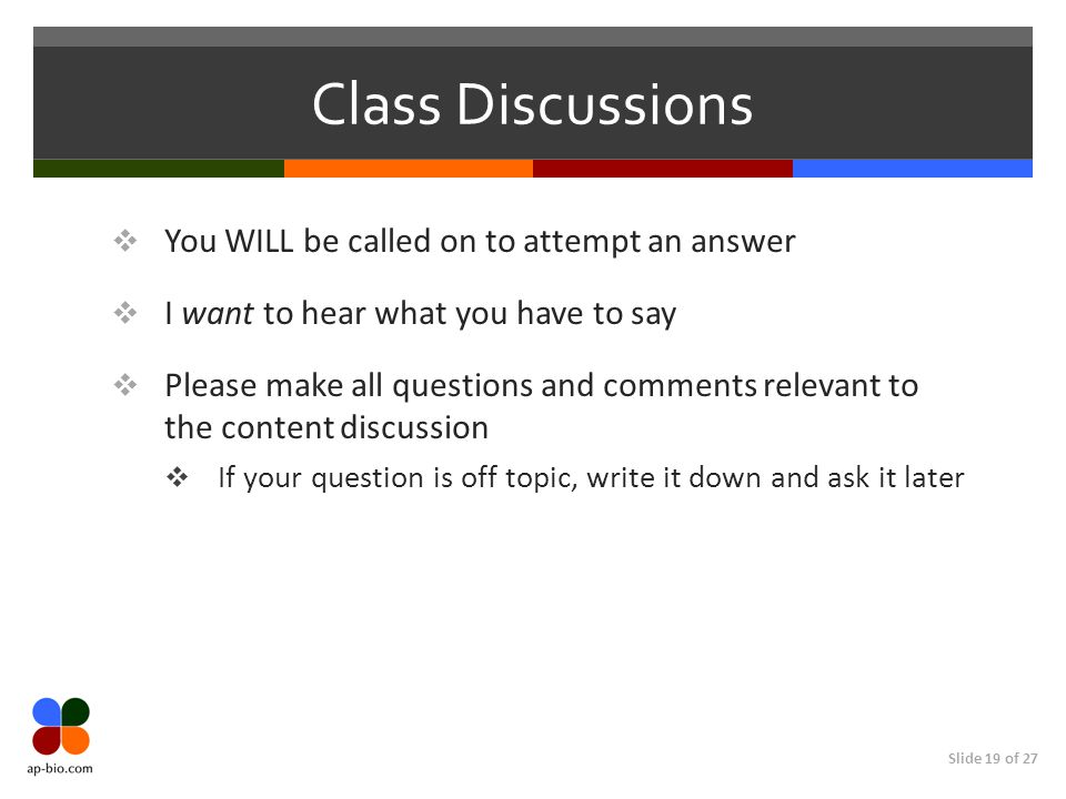 Class Discussions You WILL be called on to attempt an answer