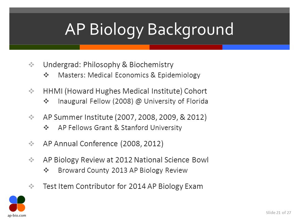 AP Biology Background Undergrad: Philosophy & Biochemistry
