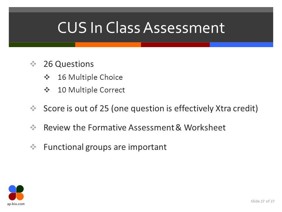 CUS In Class Assessment