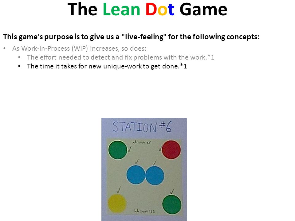 The Lean Dot Game This game s purpose is to give us a live-feeling for the following concepts: As Work-In-Process (WIP) increases, so does: