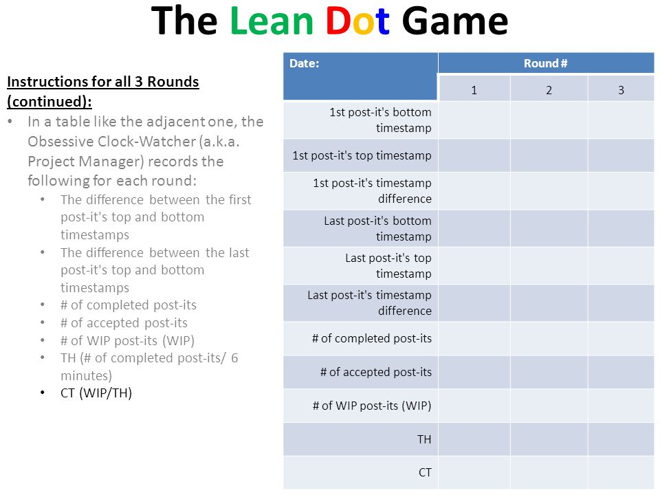 The Lean Dot Game Instructions for all 3 Rounds (continued):