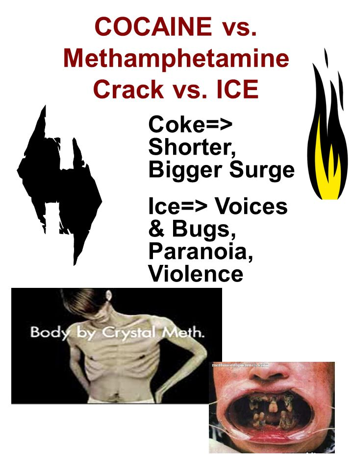 COCAINE vs. Methamphetamine Crack vs. ICE