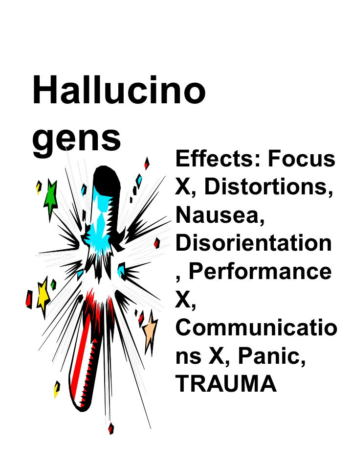 Hallucinogens Effects: Focus X, Distortions, Nausea, Disorientation, Performance X, Communications X, Panic, TRAUMA.