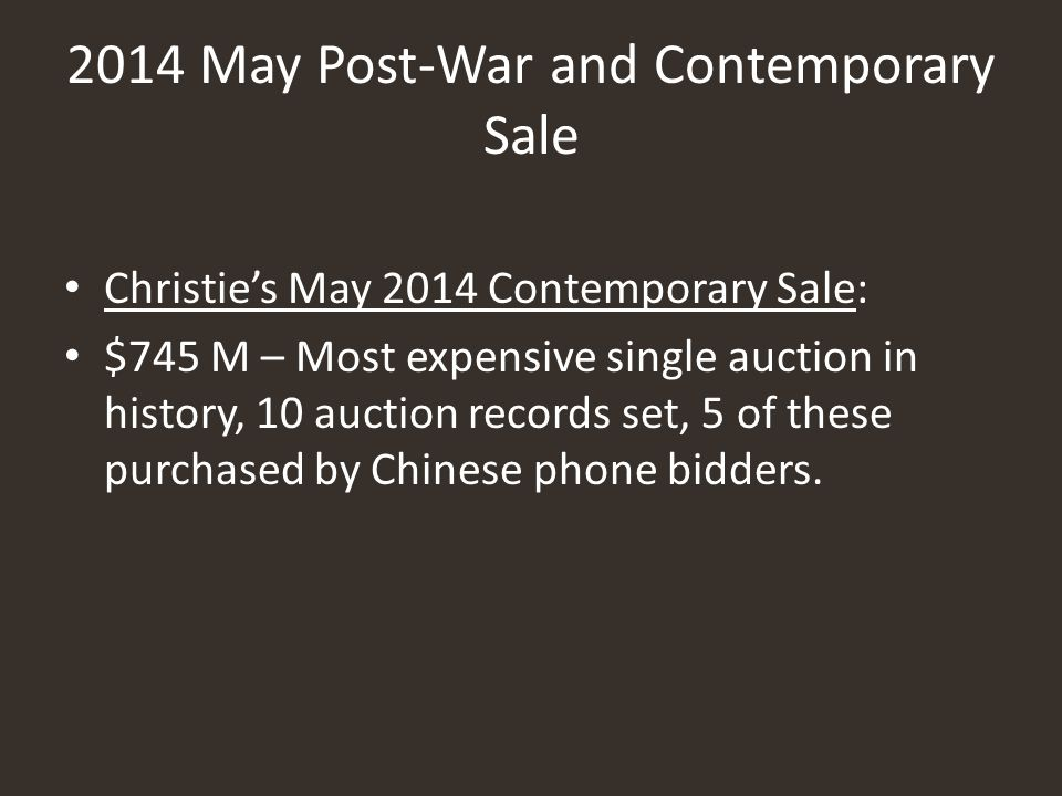 2014 May Post-War and Contemporary Sale