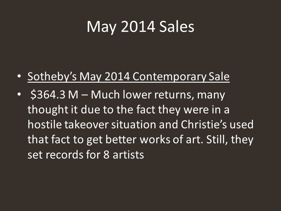 May 2014 Sales Sotheby's May 2014 Contemporary Sale