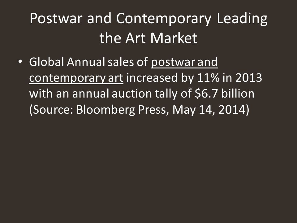 Postwar and Contemporary Leading the Art Market