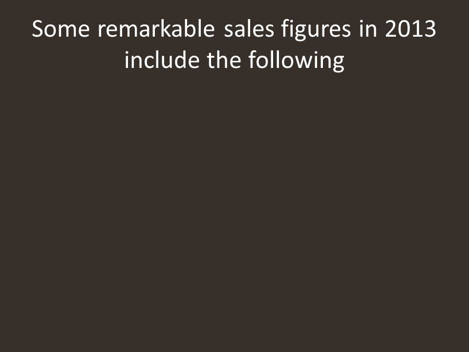 Some remarkable sales figures in 2013 include the following