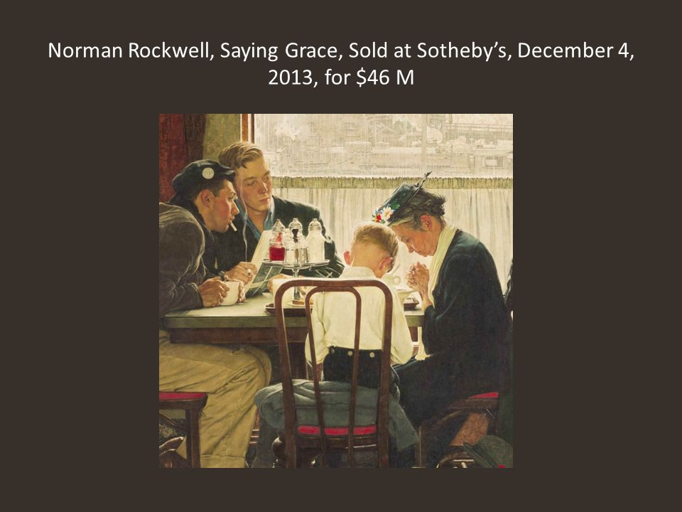 Norman Rockwell, Saying Grace, Sold at Sotheby's, December 4, 2013, for $46 M