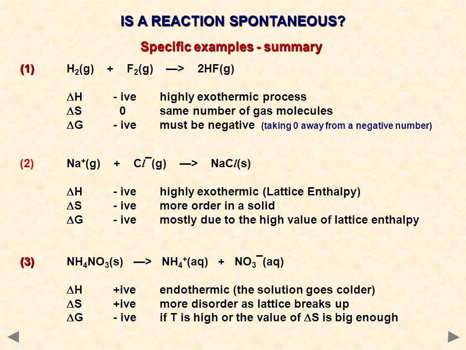 IS A REACTION SPONTANEOUS Specific examples - summary