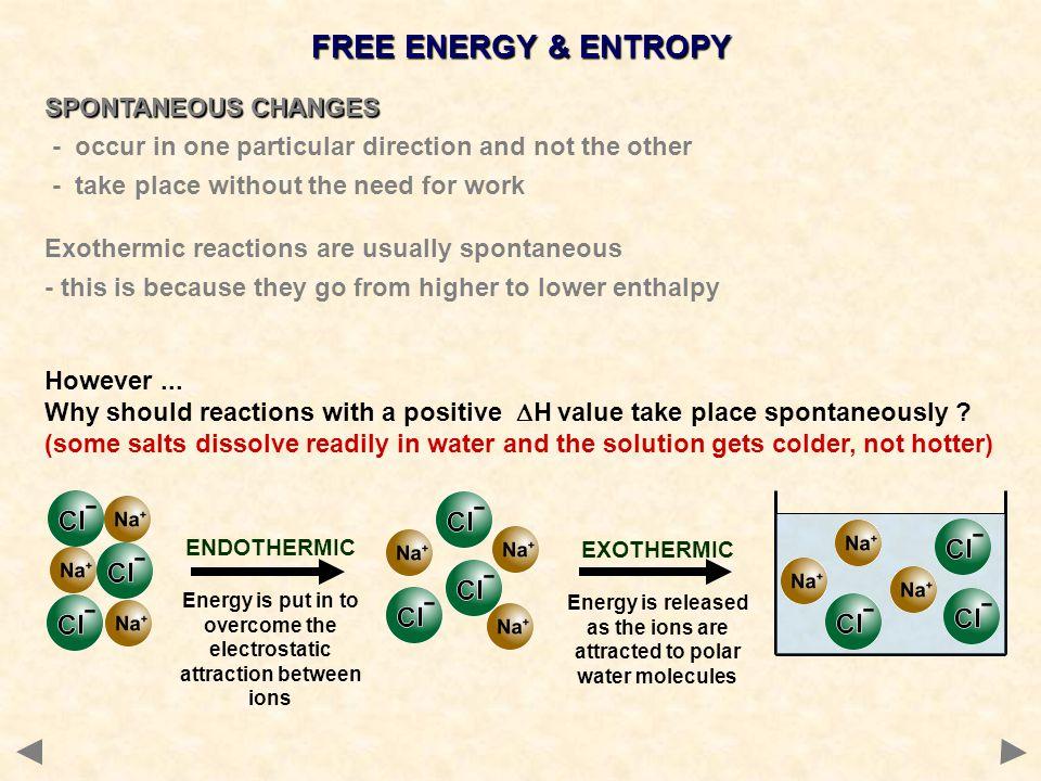 FREE ENERGY & ENTROPY SPONTANEOUS CHANGES