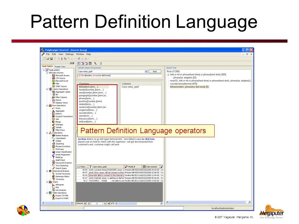 Pattern Definition Language
