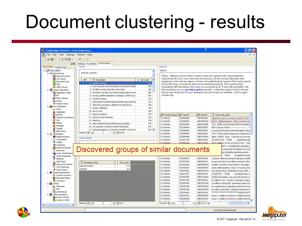 Document clustering - results
