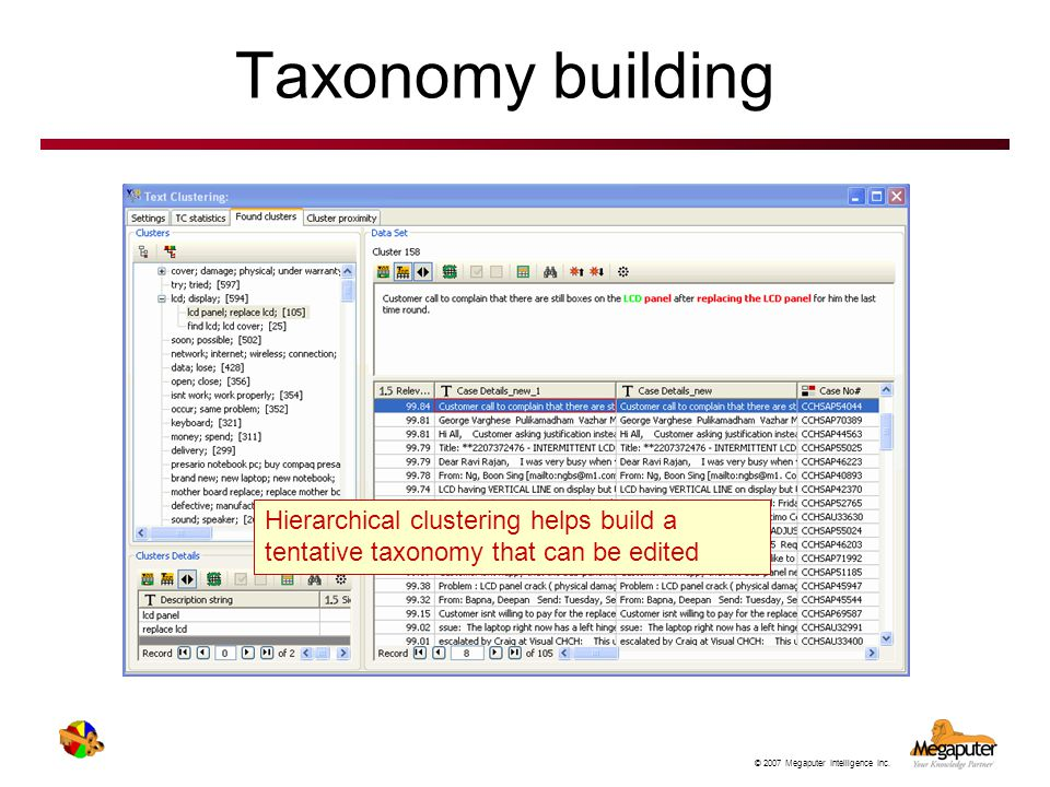 Taxonomy building Hierarchical clustering helps build a tentative taxonomy that can be edited