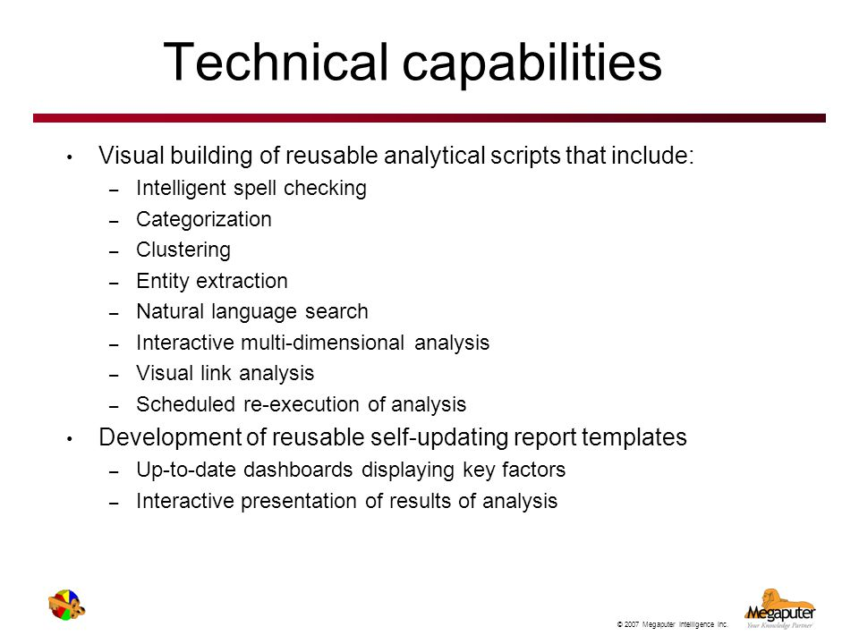Technical capabilities