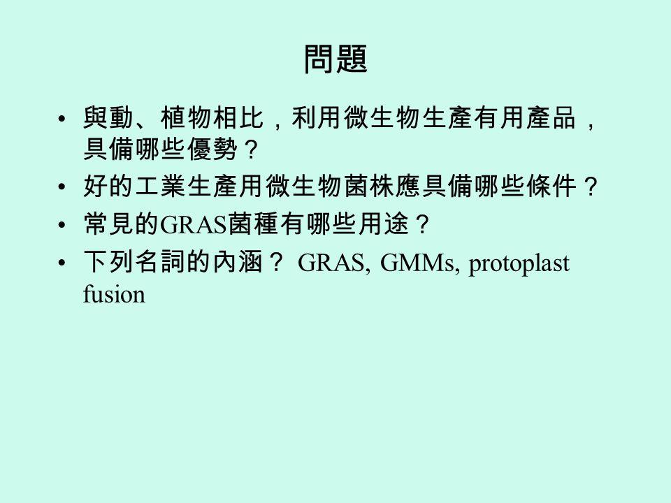 問題 與動、植物相比,利用微生物生產有用產品,具備哪些優勢? 好的工業生產用微生物菌株應具備哪些條件? 常見的GRAS菌種有哪些用途?