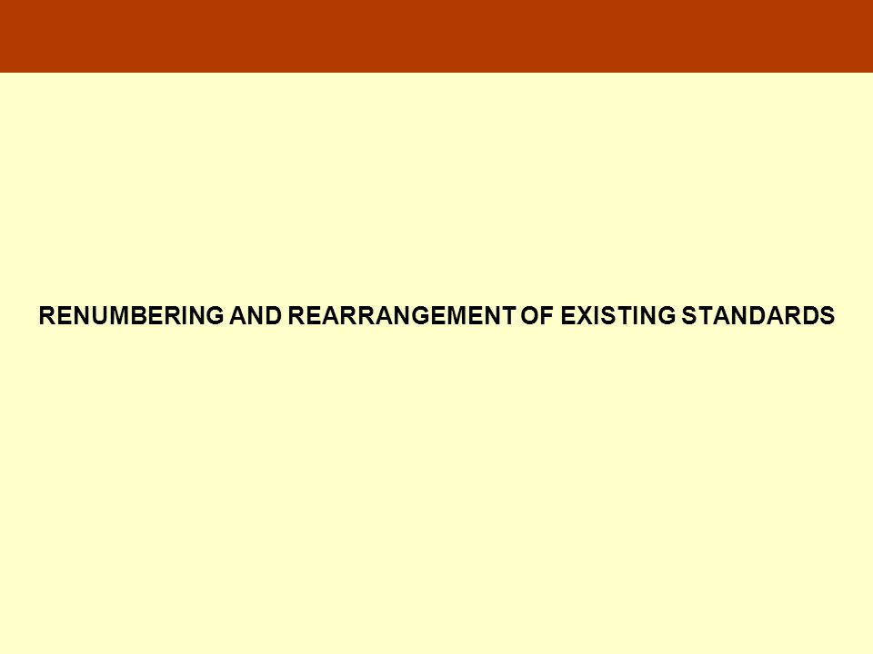 RENUMBERING AND REARRANGEMENT OF EXISTING STANDARDS