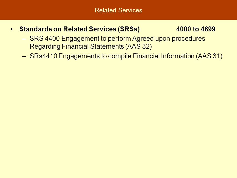 Standards on Related Services (SRSs) 4000 to 4699