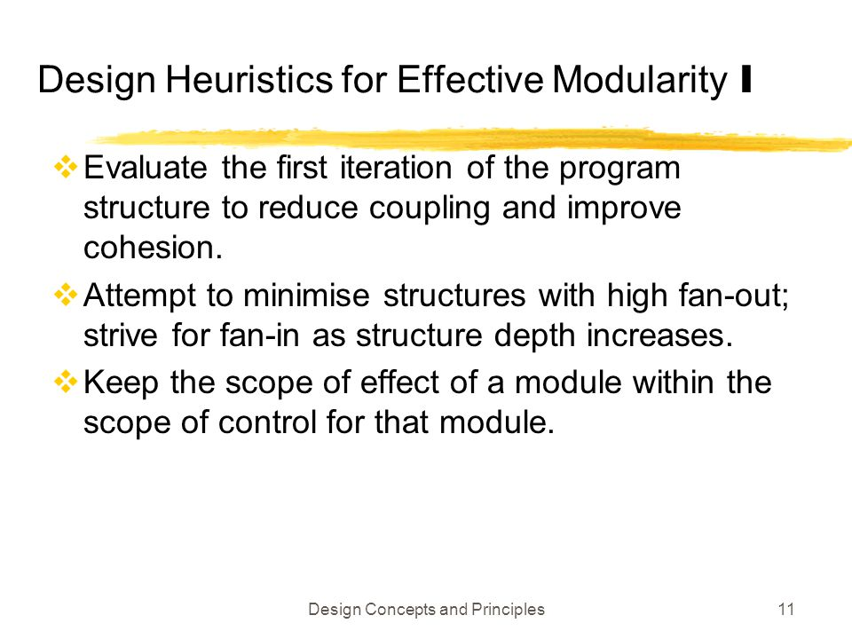 Design Heuristics for Effective Modularity I