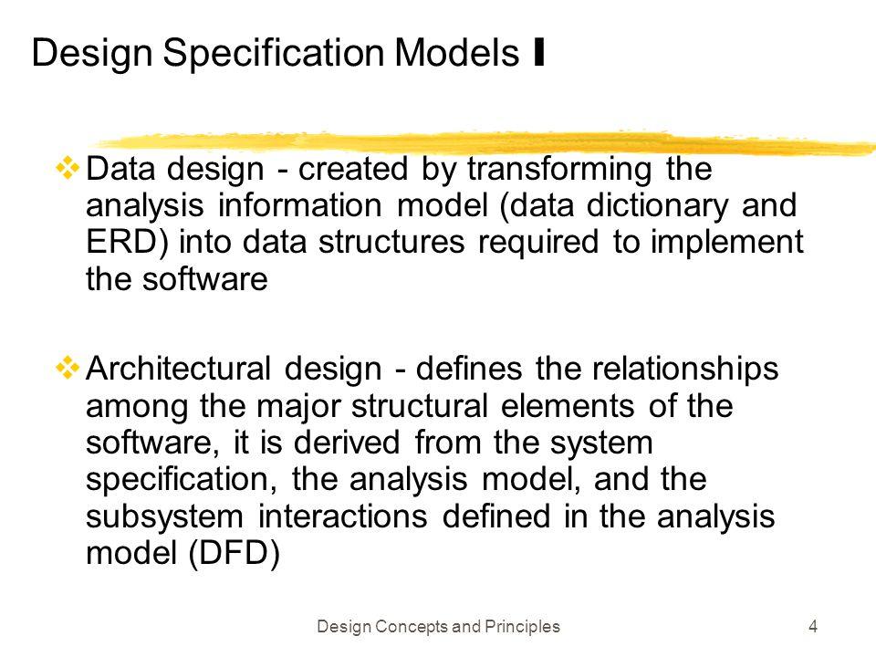 Design Specification Models I