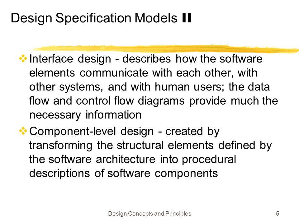 Design Specification Models II