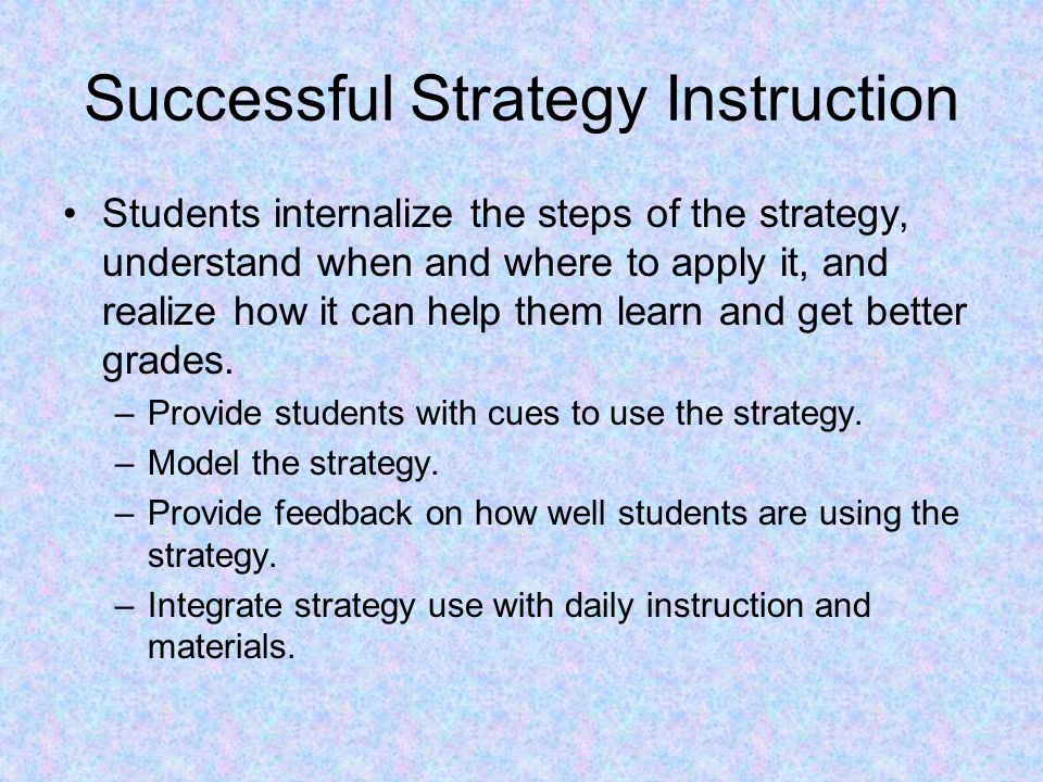Successful Strategy Instruction