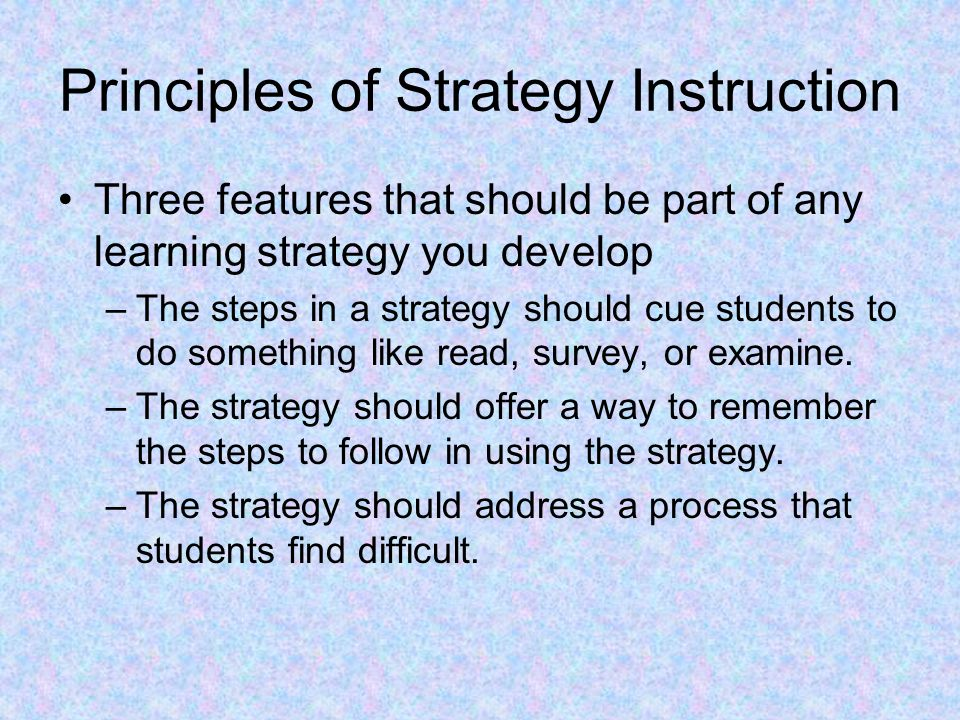 Principles of Strategy Instruction