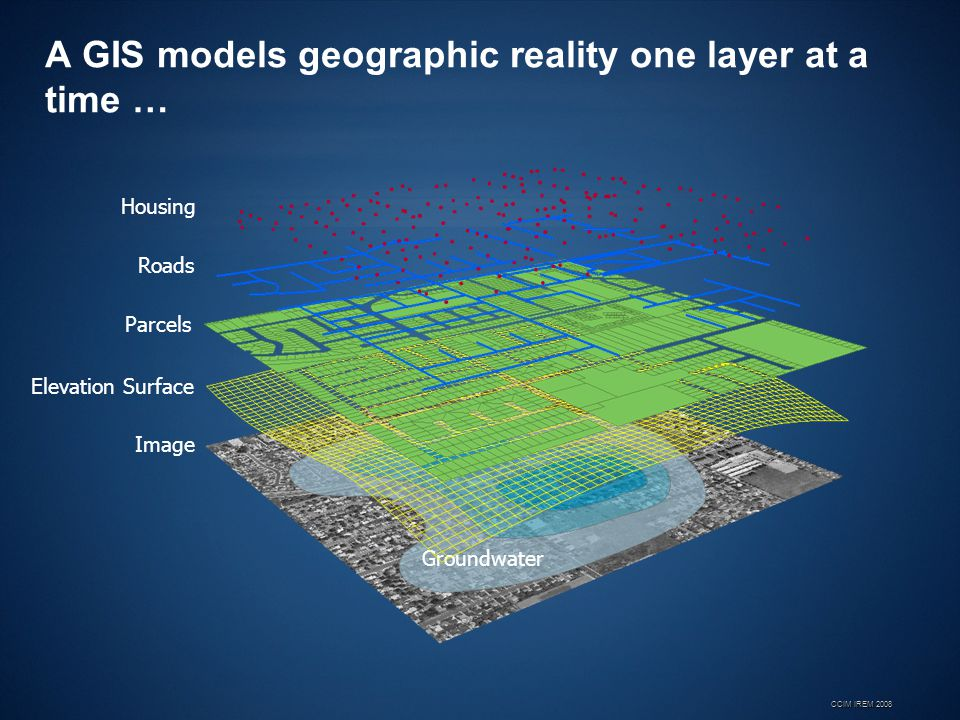 A GIS models geographic reality one layer at a time …