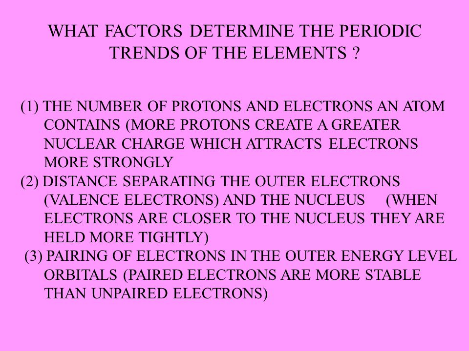 WHAT FACTORS DETERMINE THE PERIODIC TRENDS OF THE ELEMENTS