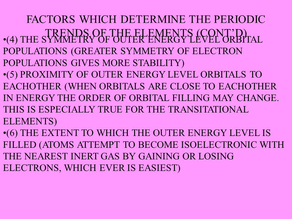FACTORS WHICH DETERMINE THE PERIODIC TRENDS OF THE ELEMENTS (CONT'D)