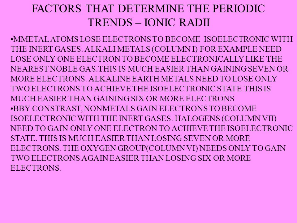 FACTORS THAT DETERMINE THE PERIODIC TRENDS – IONIC RADII