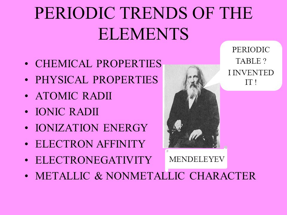 PERIODIC TRENDS OF THE ELEMENTS