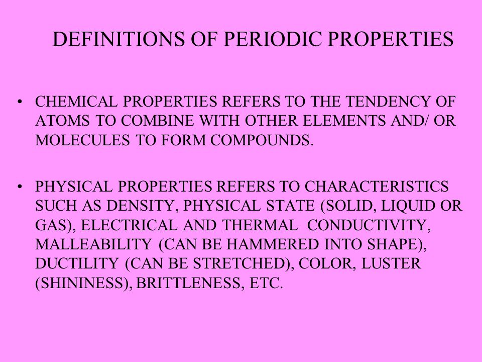 DEFINITIONS OF PERIODIC PROPERTIES