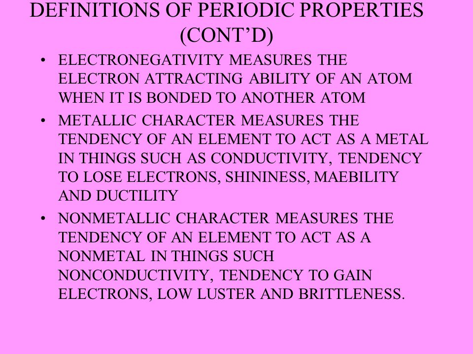 DEFINITIONS OF PERIODIC PROPERTIES (CONT'D)