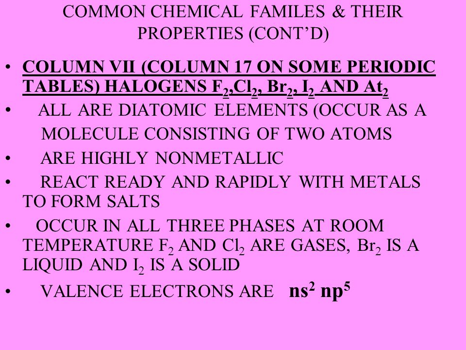 COMMON CHEMICAL FAMILES & THEIR PROPERTIES (CONT'D)