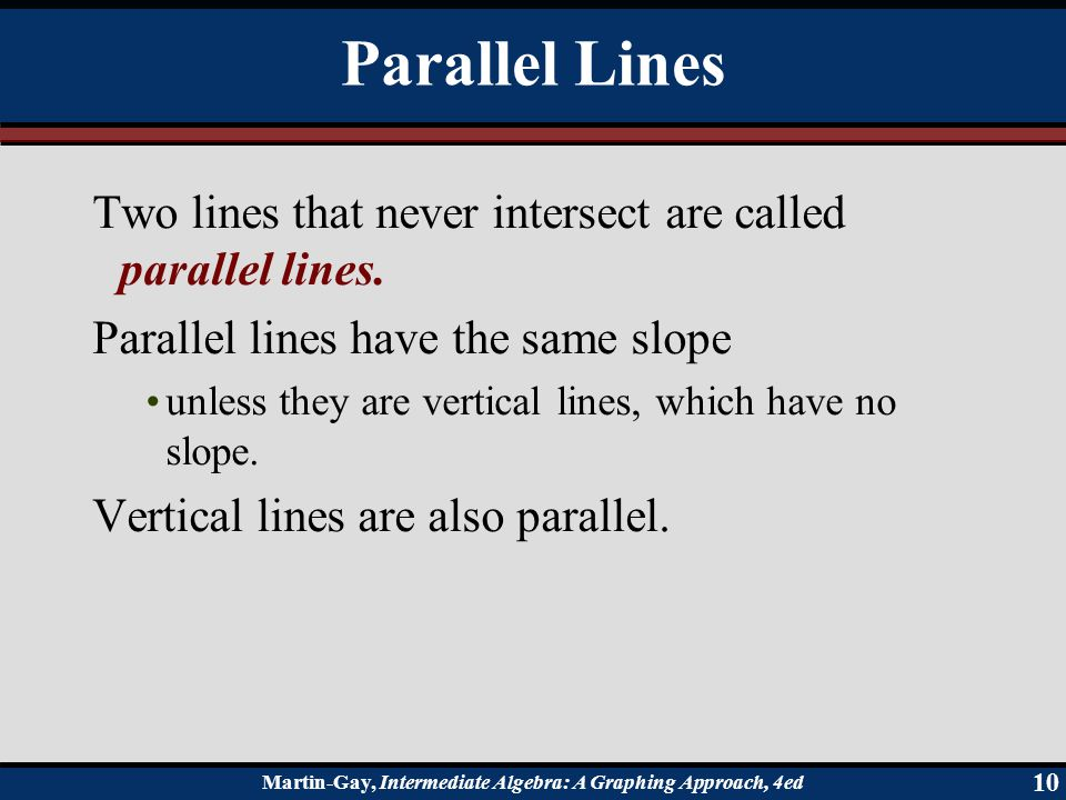 Parallel Lines Two lines that never intersect are called parallel lines. Parallel lines have the same slope.
