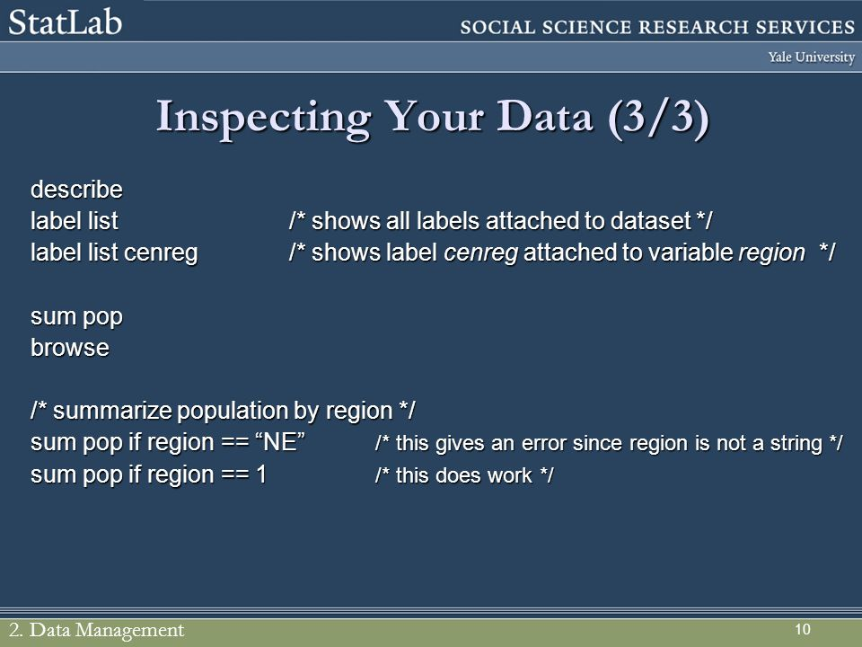 Inspecting Your Data (3/3)