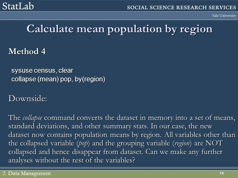 Calculate mean population by region